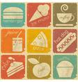 set vintage food labels vector image