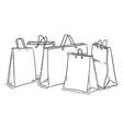 sketch set shopping bags vector image vector image