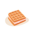 square sandwich made of waffles and ice-cream vector image
