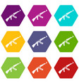 submachine gun icon set color hexahedron vector image vector image