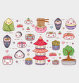 sushi and rolls cute kawaii cartoons vector image