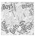 The Facts on Cyber Bullying Word Cloud Concept vector image vector image