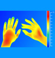 thermal imager human hands the image of a female vector image vector image