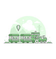 train in amusement park - thin line design style vector image vector image