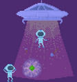 ufo on spaceship space pixel game design layout vector image vector image