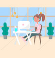 woman working in office worker with laptop center vector image vector image