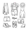 Hand drawn girl clothing and accessories outline vector image