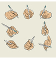 sketch of hand with pen vector image