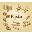 Hand drawn Collection of different types of pasta vector image