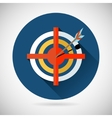 Achieving Goal Symbol Arrow Hit the Target Icon on vector image vector image