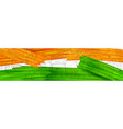 acrylic brush stroke tricolor banner with indian vector image vector image