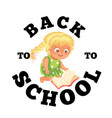 back to school flat poster girl sitting and vector image