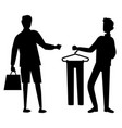 black men silhouettes in shop looking for clothes vector image