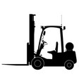 black warehouse forklift side view warehouse vector image vector image