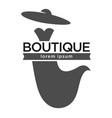 boutique fashion logotype with dress and hat on vector image vector image