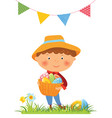 boy with basket full of eggs for easter vector image vector image