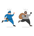 cartoon thief man with face masked running away vector image