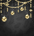 christmas golden balls and adornment on black vector image