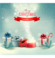 christmas winter background with presents and open vector image