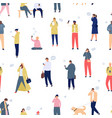 crowd with phones seamless pattern walking people vector image vector image