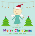 cute angel and merry christmas event vector image vector image