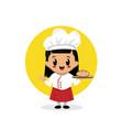 cute bakery chef girl mascot and logo design
