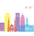 Detroit V2 skyline pop vector image vector image