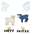 easter set of cartoon character elements vector image