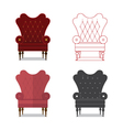 Flat design icon set of classic chair vector image vector image