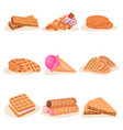 flat set of delicious waffle desserts vector image