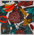 geometric pattern with exotic plants vector image