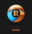golden letter r logo symbol in golden-blue circle vector image vector image