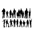 happy familychildren and kid silhouettes vector image vector image