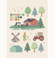 large set farming or agriculture icons vector image
