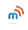 letter m wireless logo icon design template vector image vector image