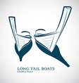 long tail boats vector image vector image