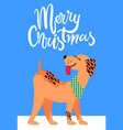 merry christmas banner with symbol of 2018 year vector image vector image