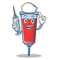 nurse syringe character cartoon style vector image