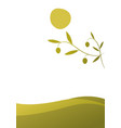 olive branch on landscape with curved olive lines vector image vector image