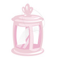 Pink vintage camping lantern isolated on white