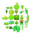 plantation icons set cartoon style vector image vector image
