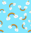 rainbow with emotion clouds seamless pattern vector image