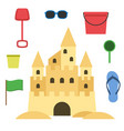 sand castle isolated in flat style cartoon vector image vector image