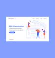 seo optimization landing page team work vector image