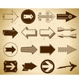 Set of trendy vintage arrows on grungy paper vector image