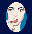 sexy young woman with finger in mouth vector image vector image