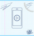 smartphone with play button on screen line vector image