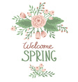 Spring word with floral elements vector image vector image