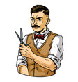 stylish mustached barber with trendy hairstyle vector image vector image