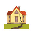house cracked in earthquake vector image
